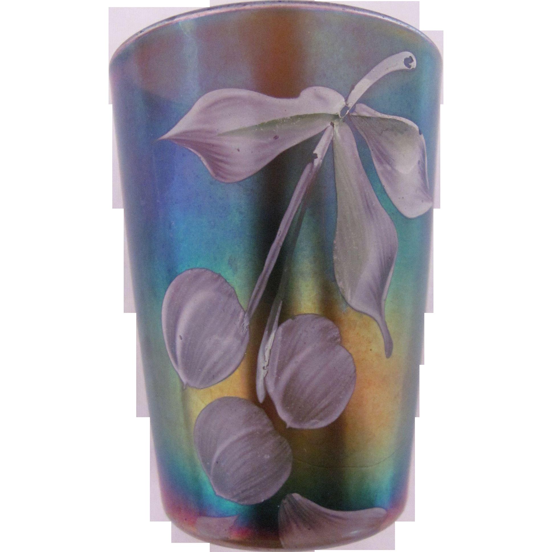 Northwood Carnival Glass Tumbler Cobalt Blue Hand Painted Cherries & Flowers