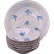 Bluebird Seven Piece Berry or Ice Cream Set Hand-Painted Master & Six Bowls