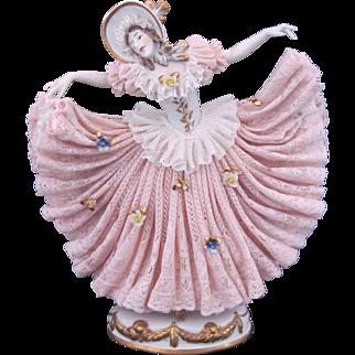 Dresden Porcelain Lace Figure Figurine Flared Skirt Vintage c.1955 Franz Witter