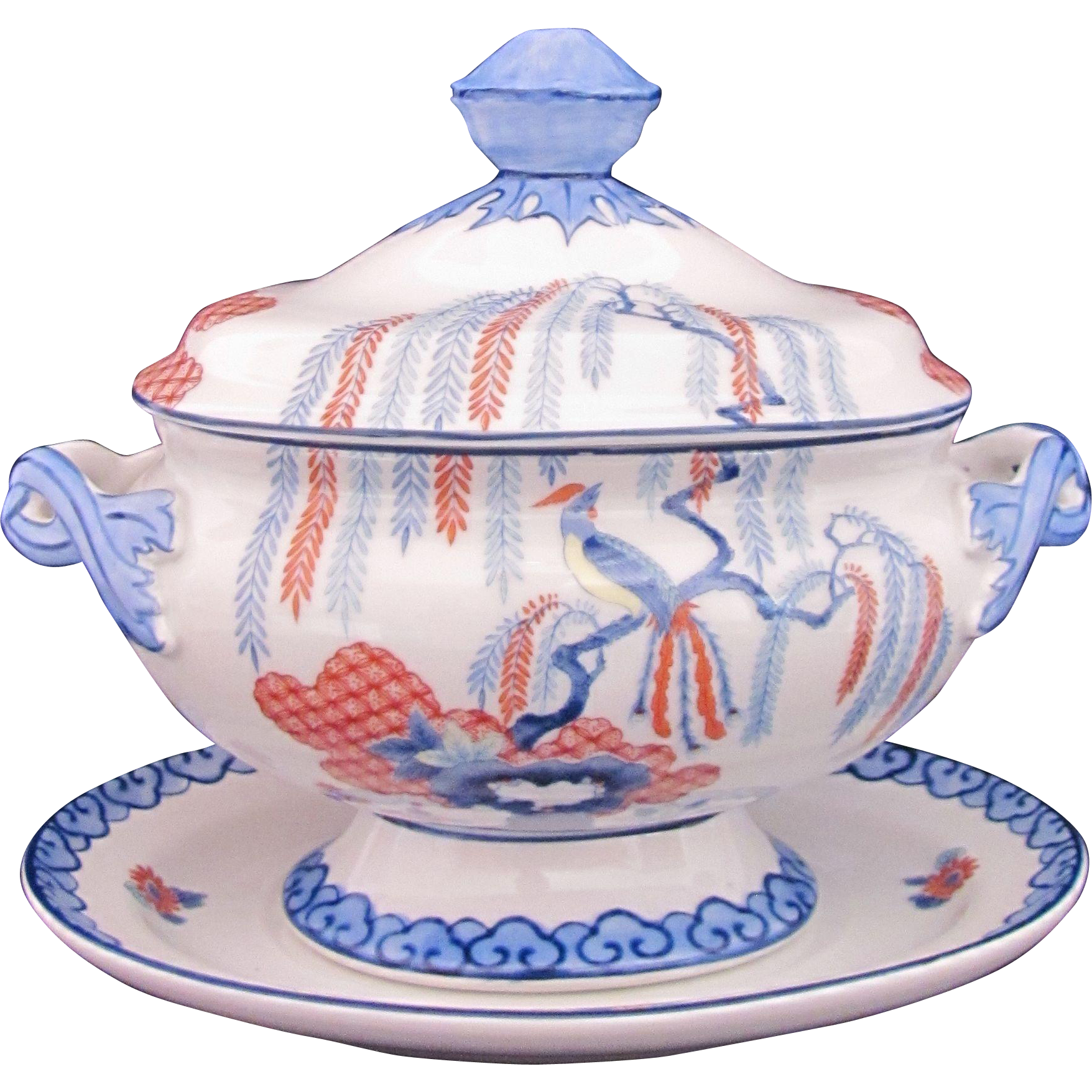 MOTTAHEDEH Covered Dish Bowl Plate MOT40 Oriental Tree Exotic Bird Blue Red