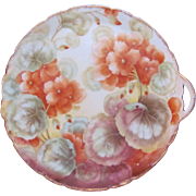 Antique Bon-Bon Dish Handled Plate Hand-Painted Salmon Geraniums Tirschenreuth