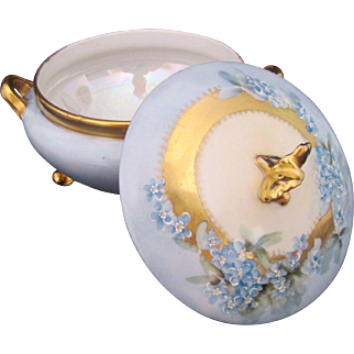 LIMOGES Powder Box Blue Forget Me Not Antique c.1900