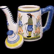 Henriot Quimper Mini Coffee Pot Breton Man Hard To Find