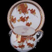 Demitasse Cup and Saucer Orange Gold Leaf Pattern Japan