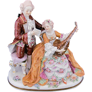 Dresden Plateau Figurine Carl Thieme Musical Man Woman Crown N