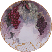 Haviland Limoges Plate Charger Hand Painted Grapes Hand Painted Signed c.1888