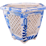 Antique Chinese Footed Jardiniere Pot 19th Century Blue White Hexagon Lattice