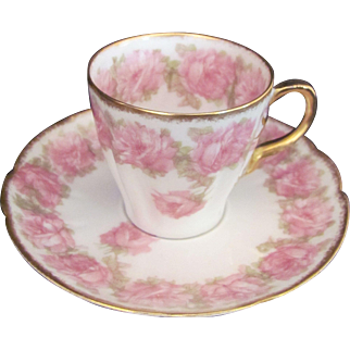 Limoges Drop Rose Pink Demitasse Cup Saucer Set Haviland Schleiger 55 - 1894