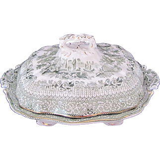 Ridgways Transferware Grecian Green Footed Vegetable Bowl Dish and Lid c.1891