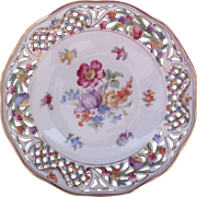 SCHUMANN Chateau Dresden Bowl Dish Pierced Reticulated Border U.S. Zone 1945-49