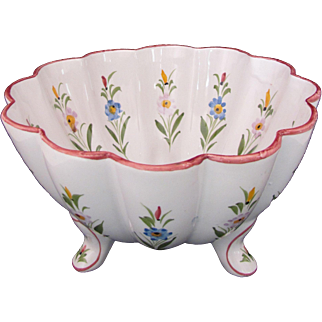 RCCL Portugal Large Footed Centerpiece Bowl Dish Hand Painted Scalloped Edge