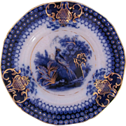"Flow Blue Plate 8"" India Pattern V&B Villeroy and Boch c.1800's Peacock"
