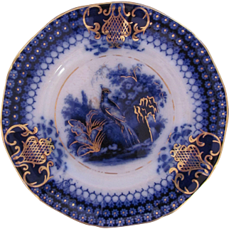 """Flow Blue Plate 8"""" India Pattern V&B Villeroy and Boch c.1800's Peacock"""