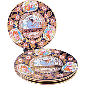 "GAUDY WELSH Plates 8"" Set of Four c.1850-1860"