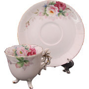 Occupied Japan Demitasse Footed Cup Saucer Sango Leaf Handle Roses
