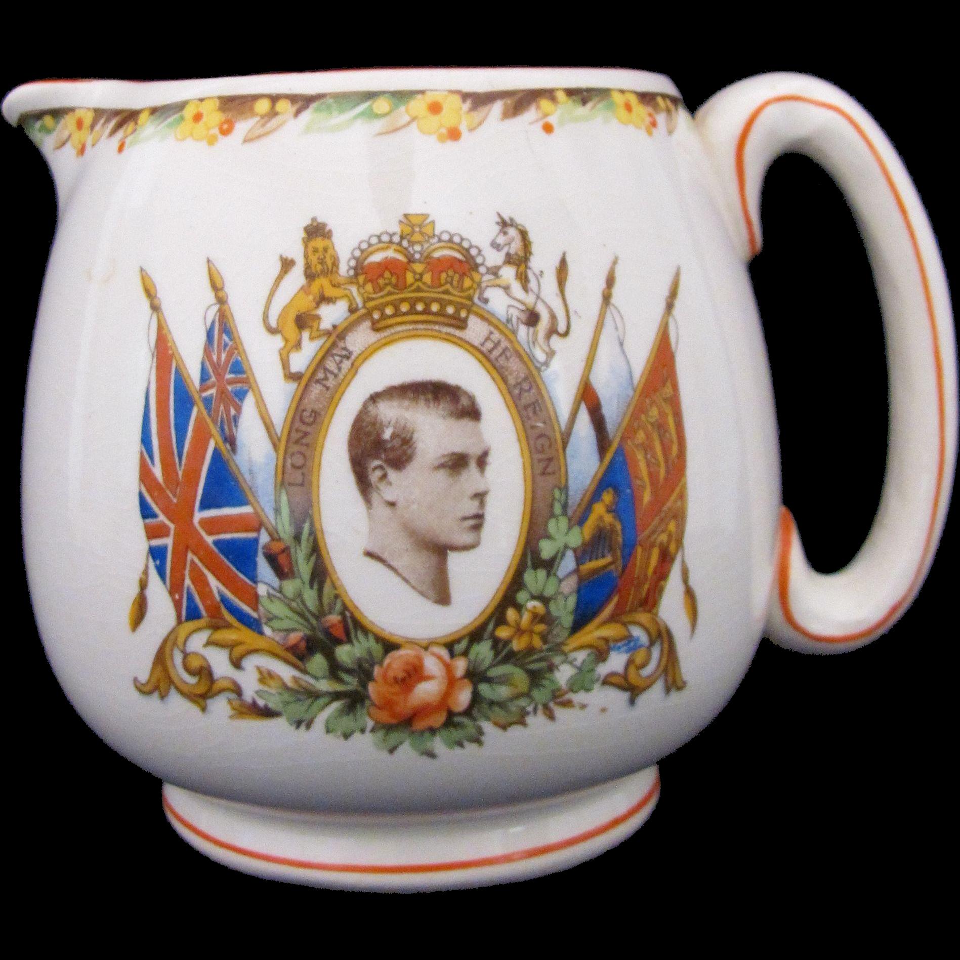 RARE King Edward VIII Coronation Souvenir Pitcher Jug CWS Longton c.1936-1937