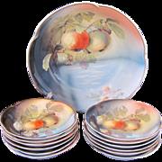 Antique Large Berry Set Master Bowl 12 Individual Bowls Apples c.1898-1923