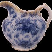 Flow Blue Pitcher Pansy Warwick China 1890's Wheeling West Virginia