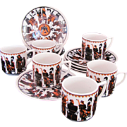 DEMITASSE CUPS & SAUCERS Greek Warriors Hand Made Kepameikn Set of Six