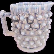 EAPG Cream Pitcher Hobbs Brockunier Elson Dewdrop Hobnail Opalescent c.1887