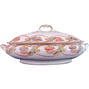 Antique Covered Dish Bowl Polychrome Transferware c.1907 Myott Son & Co Angelica Imperial Semi-Porcelain