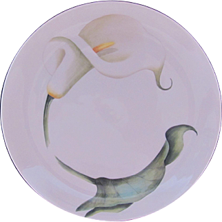 "Plate Charger Hand Painted Calla Lily Arzberg Bayern Bavaria 10"" Artist Signed"