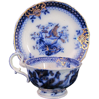 Flow Blue Cup Saucer India Pattern V&B Villeroy and Boch c.1800's Peacock
