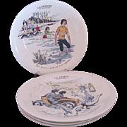 Boch Freres La Louviere Les Sports Set of Four Plates 1920's