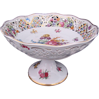 Schumann Compote Antique 1920's Dresden Flowers Pierced Scalloped Border