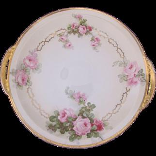 Rose Cake Plate Beyer & Bock Royal Rudolstadt Prussia Antique c.1905-1920