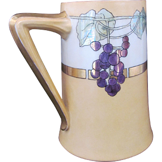 Limoges Art Nouveau Hand Painted Tankard Mug Cup with Grapes c.1900