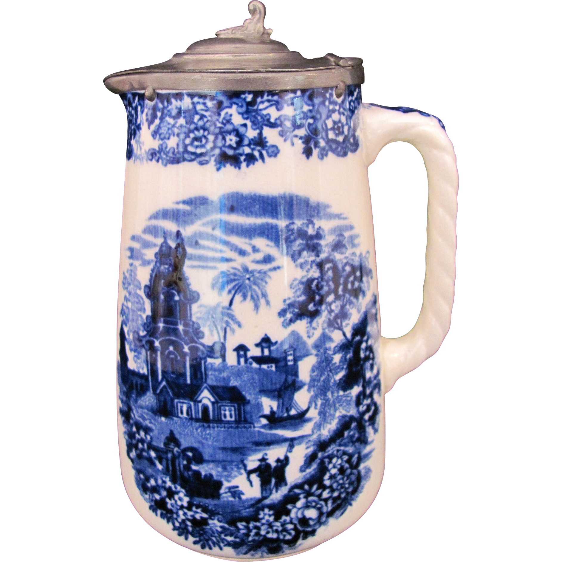 Wedgwood Chinese Syrup Pitcher Etruria England Antique c.1860