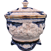 CAPODIMONTE Covered Bowl Dish Cobalt Blue Gold Made in Italy Cupid Classic Greek