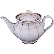 KPM Large Teapot Tea Pot White Gold Antique c.1840