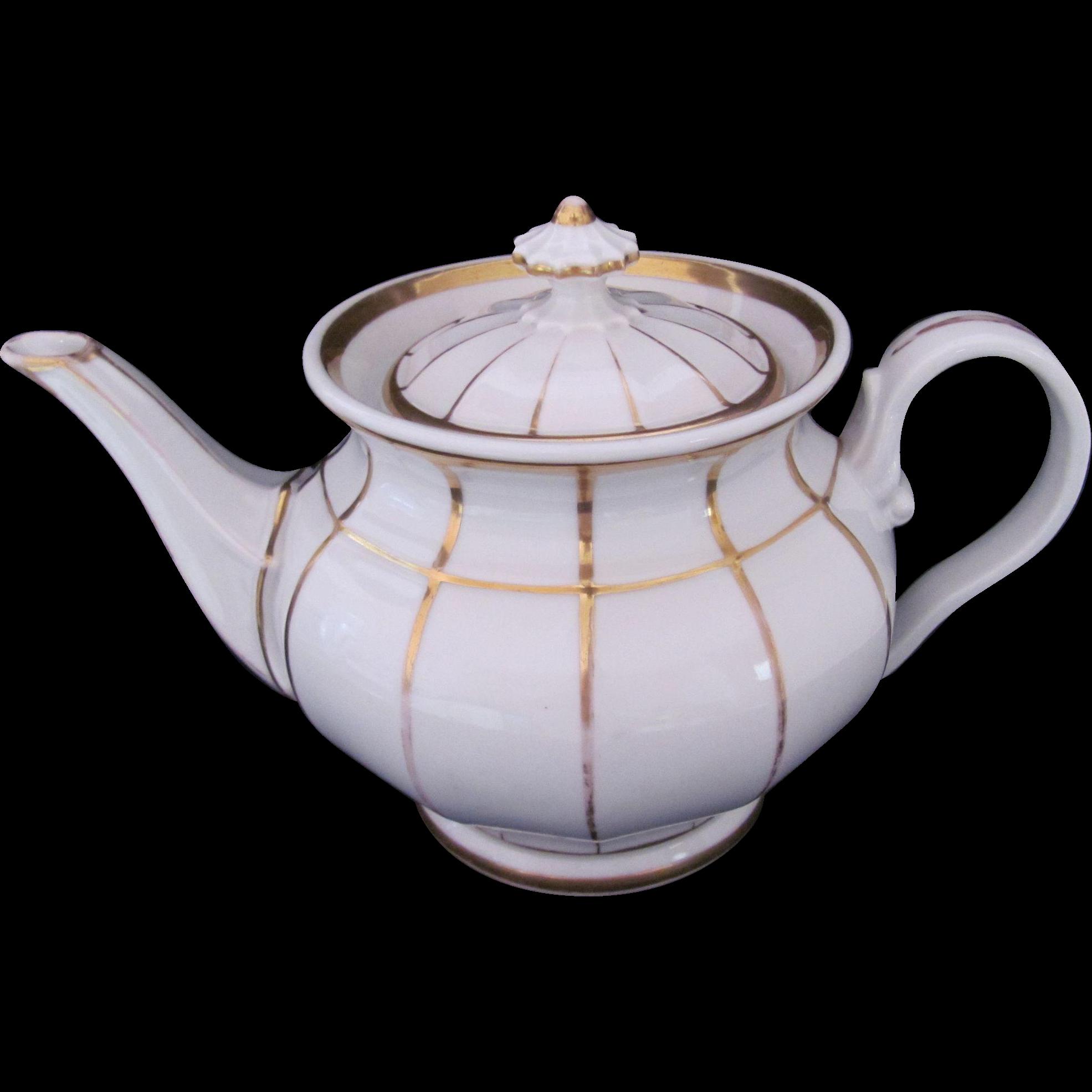 KPM Large Teapot Tea Pot White Gold Antique c.1840