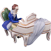 Dresden Volkstedt Figure Figurine Man and Piano Two Pieces