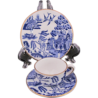 Coalport Blue Willow Toy or Miniature Cup Saucer Plate