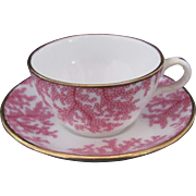Spode Copelands Toy or Miniature Cup Saucer Pink Berry Fern Pattern