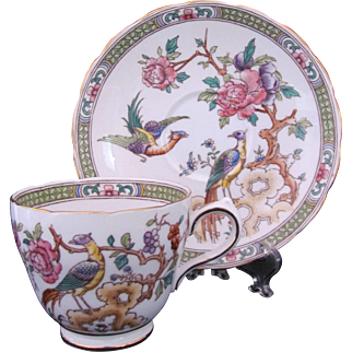 Bird of Paradise Cup Saucer Grosvenor China England Jackson & Gosling LTD