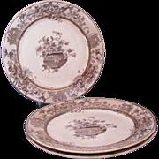 Royal Doulton Elaine Brown Transferware Three (3) Dessert Salad Plates c.1887