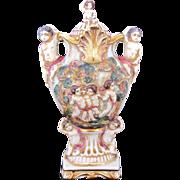 Capodimonte Covered Urn 12.5 Inches Putti Cupid
