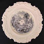 Antique Royal Doulton Rococo Plate Charger Black Transferware Toile c.1902