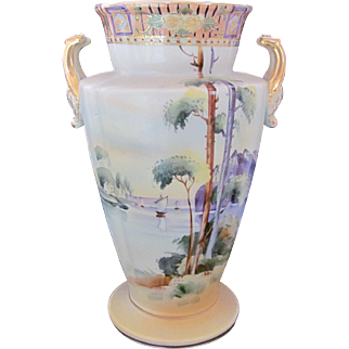 NIPPON Urn Vase Large 11.5 Inches Trees Lake Sail Boat Scene Early Unmarked