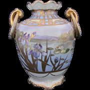 Nippon Vase Art Deco Water Scene Ring Handles c.1911-1921