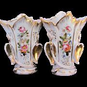 Two Old Paris Porcelain Spill or Fan Vases Urns