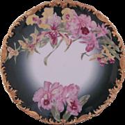 """Limoges Orchid Dinner Plate Sabots de Venus 9.5"""" T&V Tressemann & Vogt Rare"""
