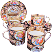 GAUDY WELSH Demitasse Cups Saucers Set of Four c.1850-1860