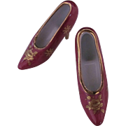 Limoges Miniature or Toy Shoes High Heels Burgundy Gold Roses