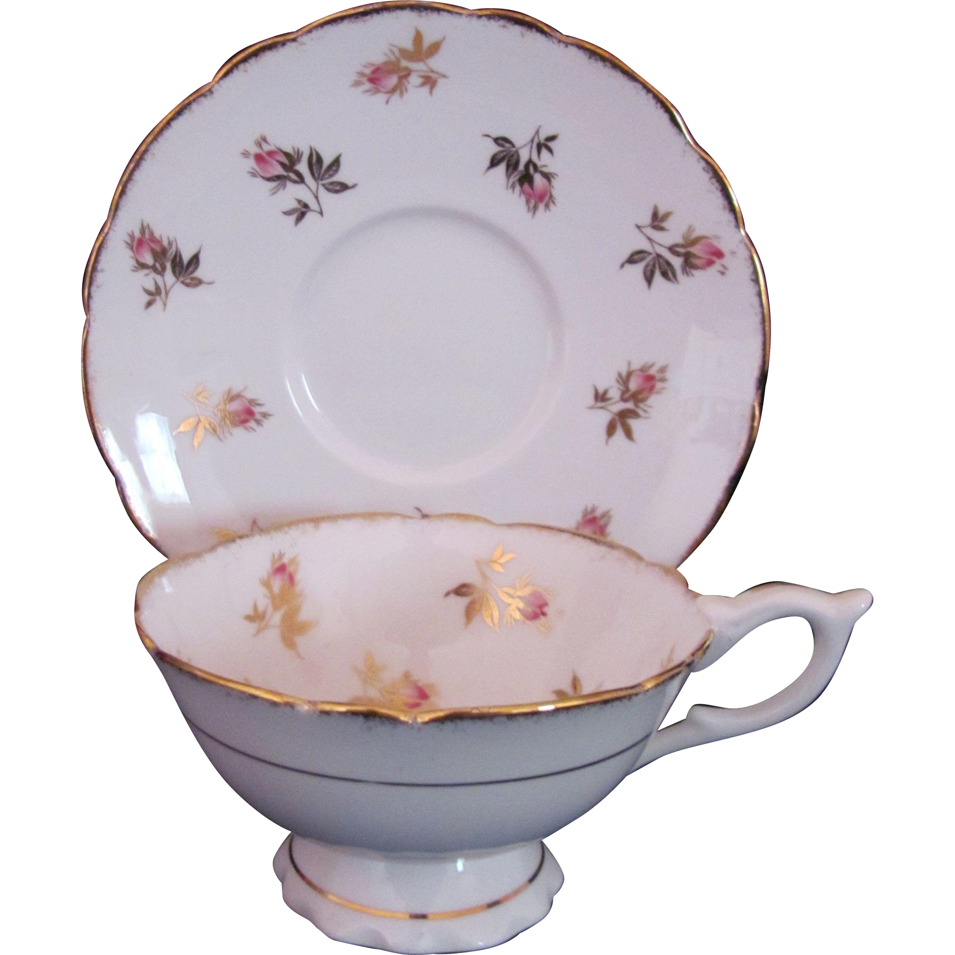 Royal Stafford Footed Cup Saucer Pink Rose Rosebud Sponged Gold Scalloped Edge