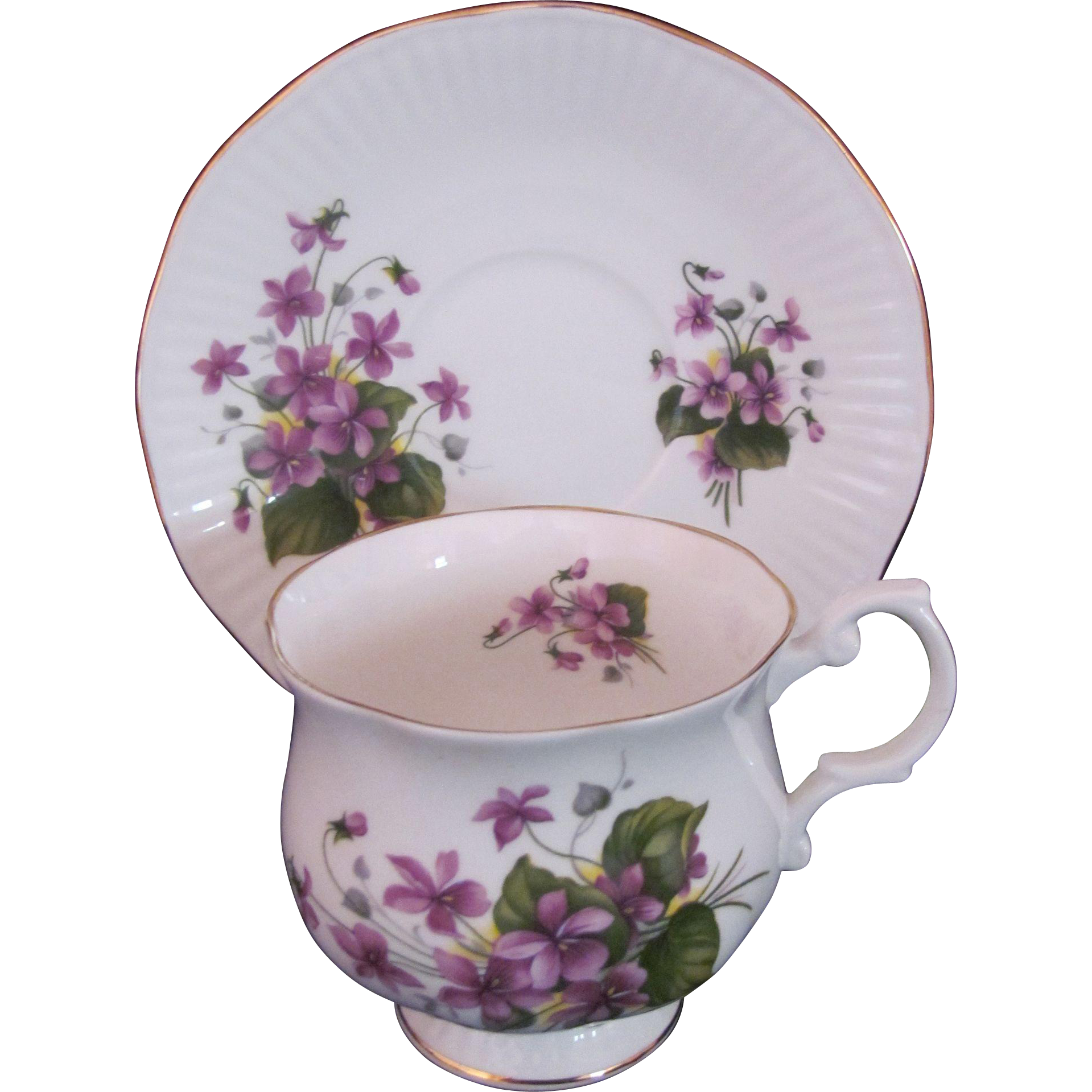 Violet Cup Saucer Royal Minster Fine Bone China England Footed Cup